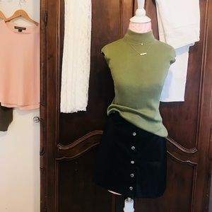 Coldwater Creek olive green silk top XS